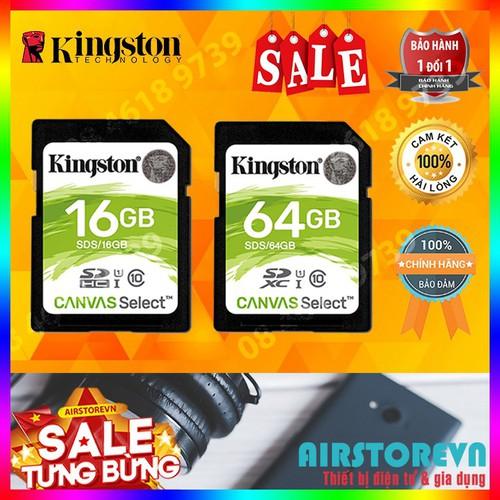 Thẻ nhớ sd 16gb 64gb kingston canvas select class 10 hàng chính hãng bảo hành 5 năm màu bất kì
