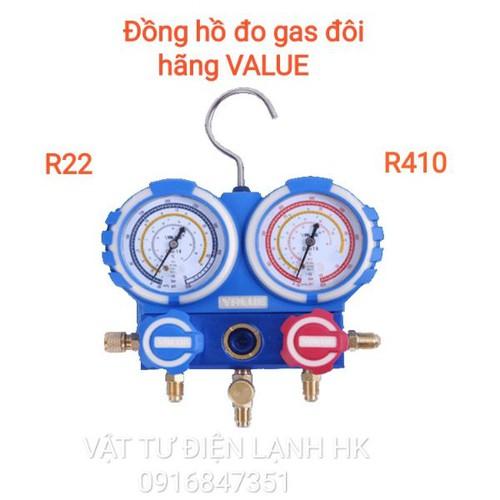 Đồng hồ đo nạp gas đôi hãng value r22 - r410 không dây