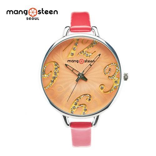 Đồng hồ nữ ms517d mangosteen seoul hàn quốc dây da đỏ cao cấp chất lượng