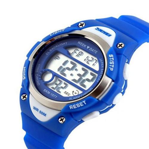 For kid đồng hồ thể thao trẻ em dây cao su panda skm 1077 xanh