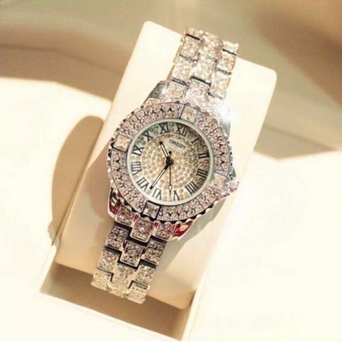 Đồng hồ nữ omydly đính đá sang trọng quý phái tặng kèm hộp đựng cao cấp màu đen