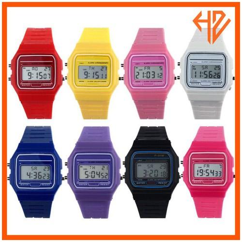 Dh014 sỉ đồng hồ nam nữ dây silicon điện tử f92 nhiều màu huyền thoại