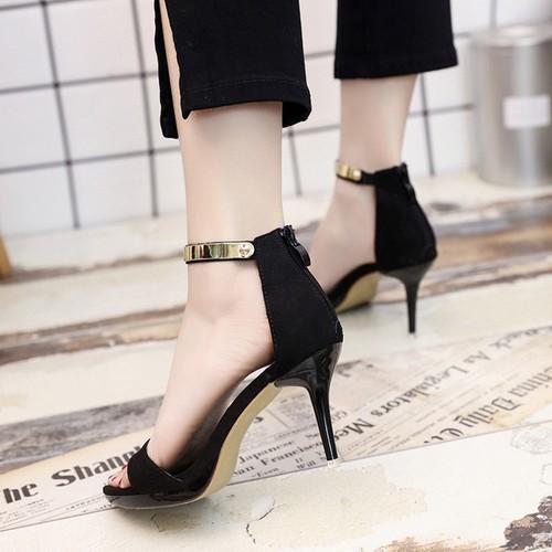 Giày cao gót kéo khóa quai viền vàng cao cấp ax4