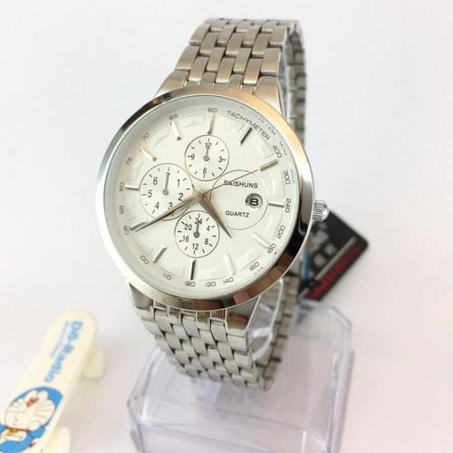Đồng hồ nam baishuns mặt trắng dây bạc cực chất giá siêu rẻ