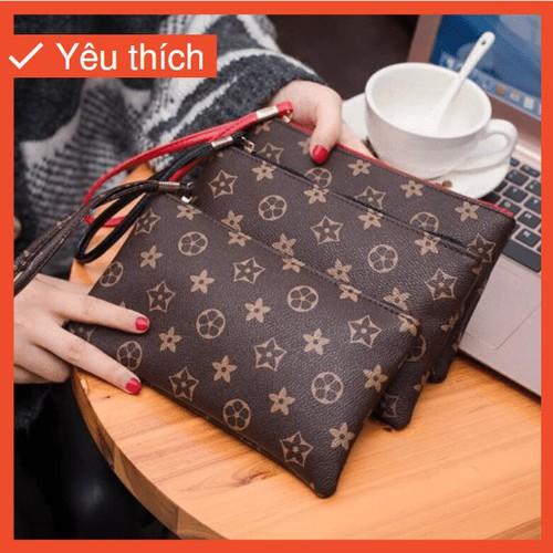 Ví cầm tay y10 họa tiêt siêu xinh ví cầm tay bóp nữ bóp cầm tay ví thời trang ví dự tiệc ví da ví dài