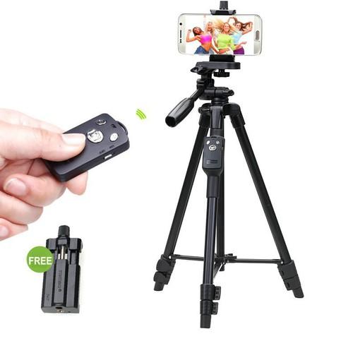 Freeship chân quay điện thoại máy ảnh tripod 3388 có bluetooth remote