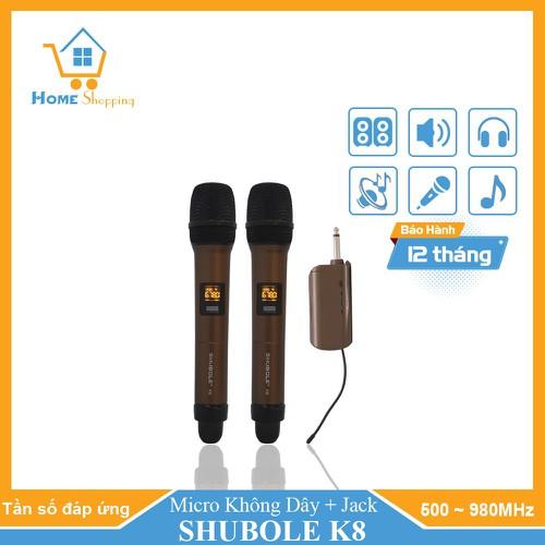 Micro không dây chuyên nghiệp - micro karaoke shubole k8 chuyên dành cho loa hoặc âm ly