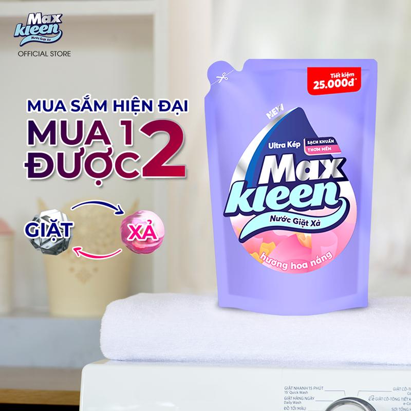 Nước giặt xả Maxkleen hương Hoa nắng sạch khuẩn thơm mềm tiện lợi & tiết kiem 2.4kg - Dạng túi