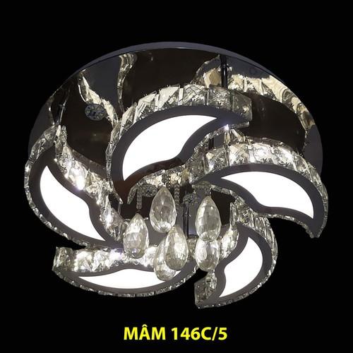 Đèn mâm ốp trần cao cấp pha lê p146c - led 3 chế độ có điều khiển - den mâm ốp trần led vuông pha lê -  đèn mâm led áp - đèn mâm led nổi den -op tran nha cam ung -den op trang han quoc den op tran nhu