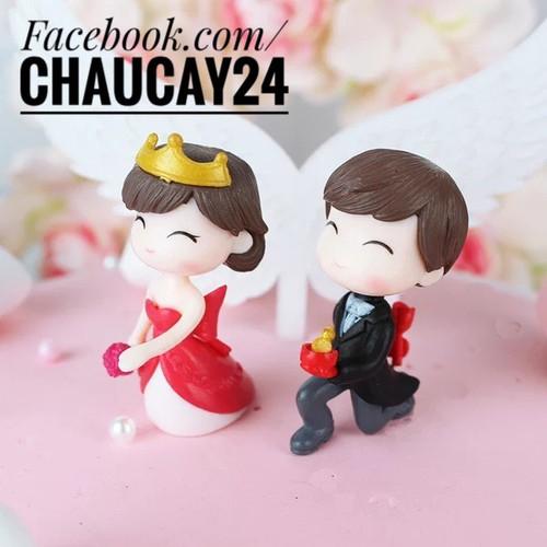 Tiểu cảnh cặp đôi cầu hôn trang trí terrarium cây cảnh mini sen đá slime quà tặng