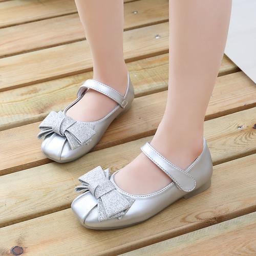 Giầy hình nơ cho bé  , sandal cho bé, giày bệt công chúa 21006 - màu bạc