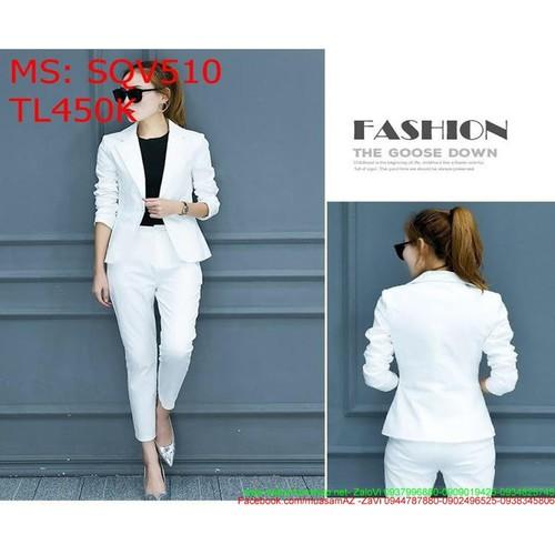 Sét áo vest phối quần dài ôm màu trắng trẻ đẹp phong cách công sở sqv510