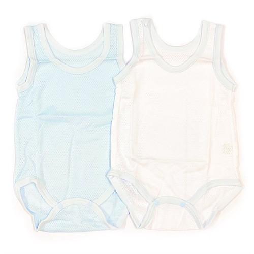 Set 2 bodysuit bé trai elfindol 3 lỗ trắng và xanh - hàng nội địa nhật