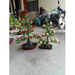 chậu cây giả - cây hoa hồng 1met