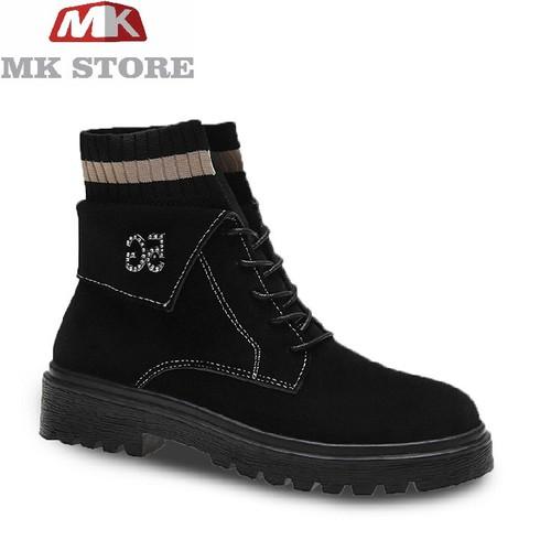 Giày dép giày boot nữ giày boot nữ cổ trung, lửng đế bằng s133 đen