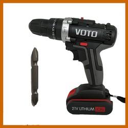 Máy khoan vặn vít cầm tay dùng pin sạc Voto 21V có búa  kèm hộp nhựa 1 pin 1 mũi vít 6.5mm