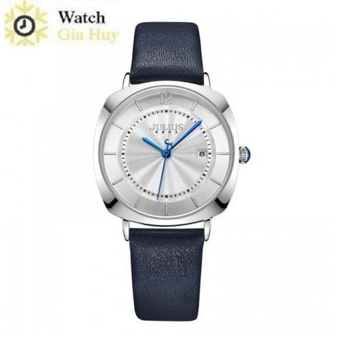 Đồng hồ nữ julius hàn quốc dây da ja1190 - xanh đen