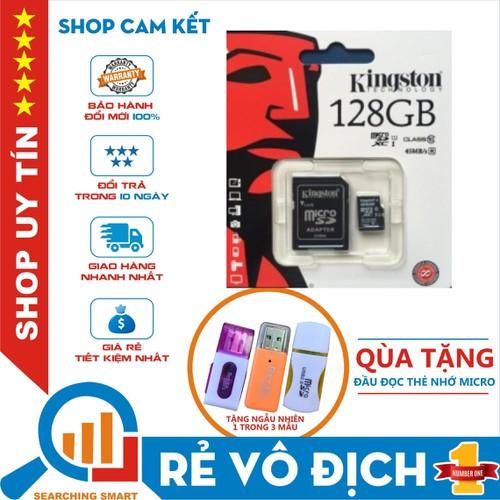 [ tặng đầu đọc thẻ ] thẻ nhớ micro sdhc kingston 128gb class 10 - bảo hành chính hãng 5 năm