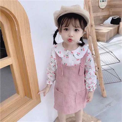 Set váy yếm nhung áo cherry cho bé gái