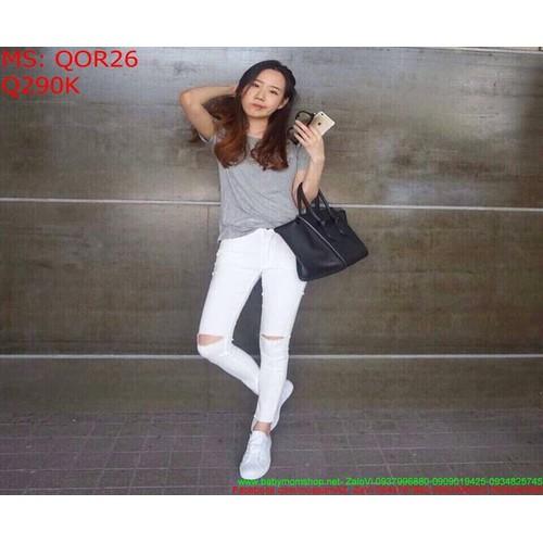 Quần jean nữ baggy rách gối màu trắng trẻ trung qor26