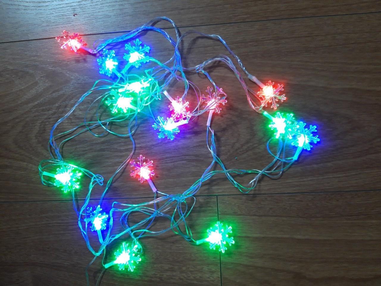 combo 2 dây đèn led nhiều màu 5m bông tuyết - đlt