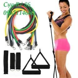 tập gym -bộ 5 dây cao su đàn hồi Resitant Band tập gym, cơ bụng, đa năng tại nhà