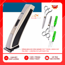 Tông đơ cắt tóc cạo viền chuyên nghiệp Kemei 5017 tặng 2 kéo + 2 dụng cụ lấy ráy tai - Tông đơ Kemei 5017