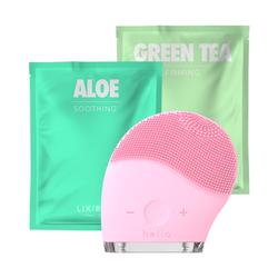 Combo Máy Rửa Mặt Và Mát Xa Da Mặt Halio + 2 Mặt Nạ Lixibox - Aloe Và Green Tea