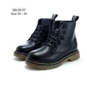 Giày bốt cho bé trai 3 - 15 tuổi GC45 phong cách Âu Mỹ Chất liệu da thật - GC45DEN