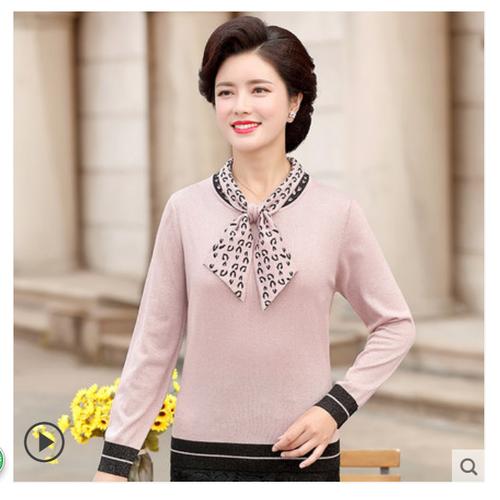 Áo kiểu nữ cổ thắt nơ họa tiết thời trang trung niên