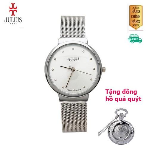 [ mua 1 tặng 1 ] đồng hồ nữ ja-426 ju1052 julius hàn quốc dây thép bạc-tặng 1 đồng hồ quả quýt