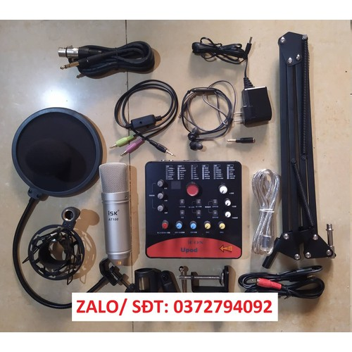 Combo mic thu âm-live isk at100 sound card icon upod pro tặng tai ng