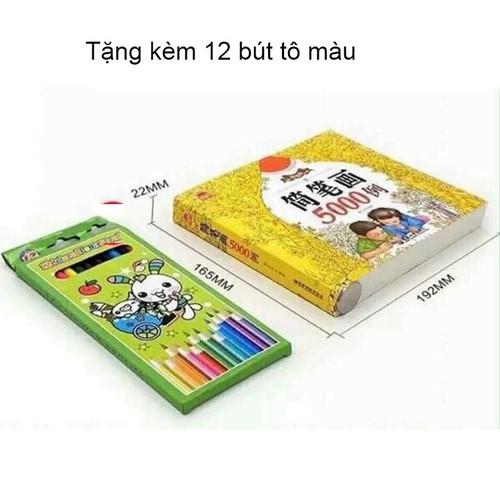 SÁCH TÔ MÀU 5000 hình Cho bé kèm 12 bút chì tô màu - sách tô màu ...