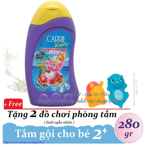 Carrie junior - tắm gội toàn thân cho bé tinh chất sữa 280 g + tặng 02 đồ chơi phòng tắm