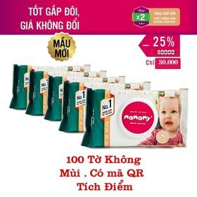 Combo 5 gói khăn ướt Mamamy 100 tờ không mùi - mamamy-5