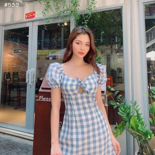 Đầm caro xanh cột nơ ngực
