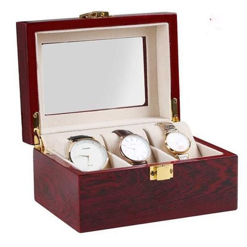 Hộp đựng đồng hồ 3 ngăn làm từ gỗ cao cấp