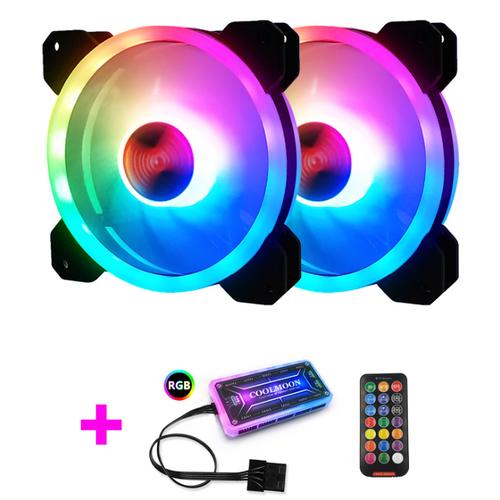 Bộ 2 quạt tản nhiệt, fan case coolmoon ver 4 led rgb dual ring + led rainbow  - kèm hub và remote
