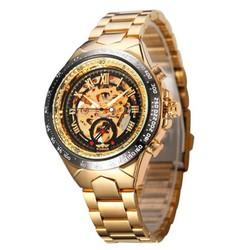 Đồng hồ nam Winner cơ lộ máy dây thép cao cấp không gỉ - Full Gold Đen