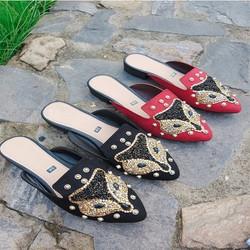 Giày sục nữ khóa chồn hoa HL