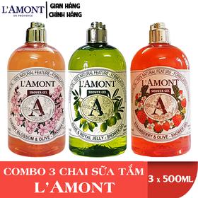 Combo 3 Chai Sữa Tắm LAmont En Provence Hương Hoa Anh Đào, Hương Olive và Hương Dâu Tây 500ml-chai - ANH ĐÀO+OLIU+DÂU TÂY