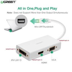 Cáp Thunderbolt To HDMI + VGA + DVI 24+1 Chính Hãng Ugreen 20417