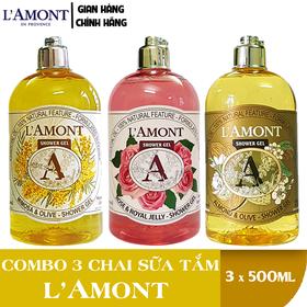 Combo 3 Chai Sữa Tắm LAmont En Provence Hương Hoa Mimosa, Hương Hoa Hồng và Hương Hạnh Nhân 500ml-chai - HẠNH NHÂN+MIMOSA+HOA HỒNG.