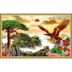 Tranh dán tường phong thủy VTC Đại triển hồng đồ LunaTM-0215 Kim sa 120 x 90 cm