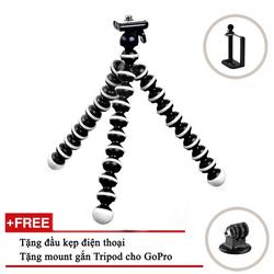 [QUÀ ĐỈNH 0Đ] Chân địa hình đen trắng loại trung - TẶNG mount gắn Tripod - TẶNG đầu kẹp điện thoại