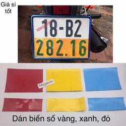 Đề can - decal vàng xanh đỏ dán biển số xe máy -giá 1 miếng