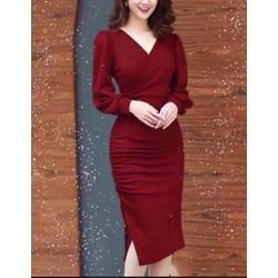 Đầm ôm M, L, XL ,2XL tay dài vải lụa Umi korea  dày, co giãn tốt 40-74kg thiết kế cao cấp