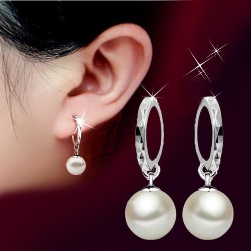 Khuyên tai nữ kt811 tròn đính ngọc trai 10mm thời trang hot 2019
