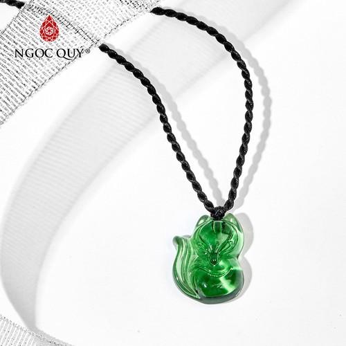 Mặt dây chuyền hồ ly pha lê xanh lá 1.7x2.3cm - ngọc qúy gemstones