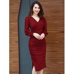 Đầm ôm M, L, XL, 2XL tay dài vải lụa Umi korea dày, co giãn size thiết kế cao cấp 40-74kg